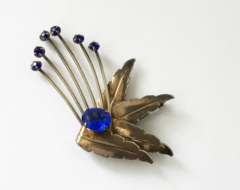 Vintage 1920s Sterling Brooch Leaves and Flowers, Flapper Girl Brooch, Sapphire Blue Glass Abstract Design Brooch
