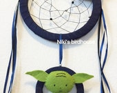 STAR WARS inspired dreamcatcher with Yoda - dreamcatcher room decor - nursery mobile - preorder