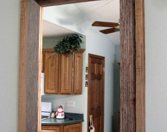 Barnwood Mirror  with Shelf on top