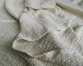 100% LINEN Blanket Throw EUROPEAN FLAX Stylish Large Wrap Light and Soft - Cream color