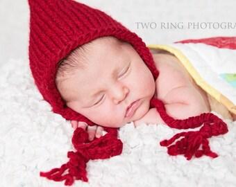 Newborn Photo Prop, Newborn Girl Red Bonnet, Baby Girl Hat, Baby Girl Photo Prop, Bonnet Baby Girl, Red Baby Bonnet, Knit Baby Girl Bonnet