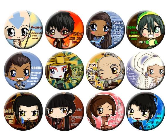 Avatar the Last Airbender Chibi Pinback Button Set - Aang, Zuko, Katara, Sokka, Toph, Suki, Azula, Ty Lee, Mai, Iroh, Yue, ATLA