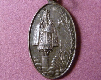 Vintage solid silver  French Religious Medal  Our lady of Chartres  Old Pendant Charm Antique Jewelry