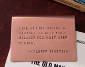 Hand-Stamped, Copper Bookmark, Choose from 25 Quotes or Custom Quote, Copper Bookmark, Personalized, EINSTEIN
