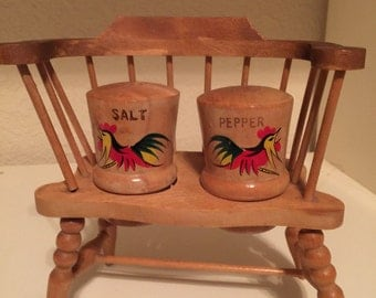 Salt and Pepper Shakers Wooden Rooster on a Love Seat Farmhouse
