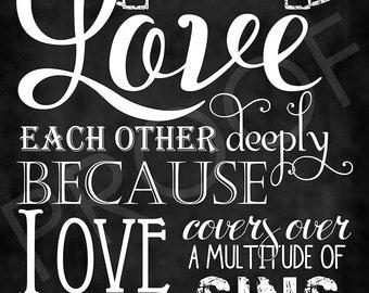 Scripture Art - I Peter 4:8 ~ Chalkboard Style