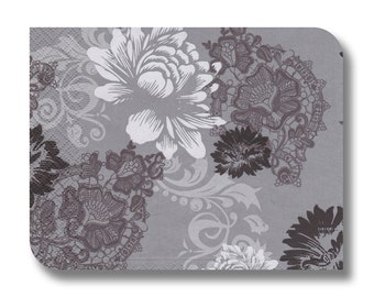 Gray floral decoupage paper napkin serviette for crafts x 1.  Blossoms and Ornaments. No 1154
