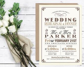 Printable Wedding Rehearsal Dinner Invitation \\ Vintage Poster design in Brown & Tan \\ Rustic Wedding (RD13)