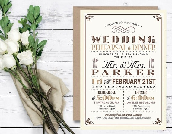 Printable Wedding Rehearsal Dinner Invitation \\ Vintage Poster design in Brown & Tan \\ Rustic Wedding (RD13)