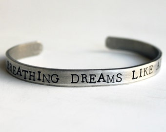 Breathing Dreams Like Air Bracelet, Literature Jewelry, Great Gatsby, Bibliophile, Quote Bracelet, Fitzgerald, Book Lover, Librarian Gift