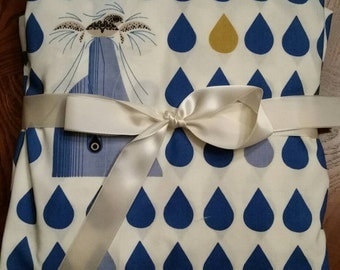 Organic fitted crib sheet, baby, bedding, Charley Harper, blue, dolphin, turtle, water, rain drops, Maritime