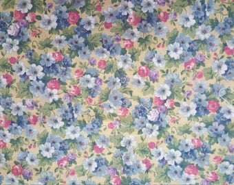 Blue Flowers on yellow background - Designed by the Kesslers for Concord Fabrics