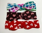 Knotted Bow Headband - Hearts