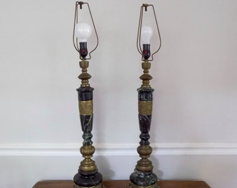 REDUCED Brass and Marble Pair of Mid Century Regency Chinoiserie Table Lamps - Vintage Asian Oriental Elegant Statement Piece Dragons Bir