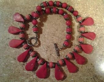 Beautiful Stone Bib Necklace Artisan Made