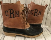 Monogrammed Duck Boots Two Tone Brown Black Women's Personalized