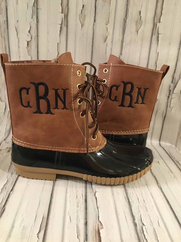 monogrammed duck boots two tone brown black women u0026 39 s
