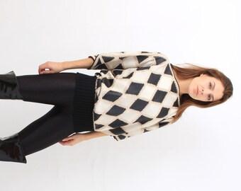 Rhombus Leather Kimono Blouse
