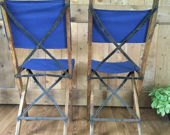 Vintage Camp Chair Camp Stool Rustic / Lodge / Cabin / Beach Decor SET OF TWO