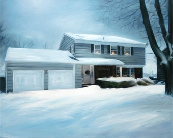 Housewarming Gift Custom Home Painting on Canvas from Photo - Hand Painted