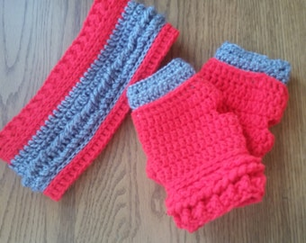 Ear Warmer and Fingerless Gloves set