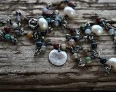 Jasper Necklace Boho Choker Layering Handmade Beaded Chain Sterling Silver Delicate Gemstone Short Dainty by Letemendia Jewelry