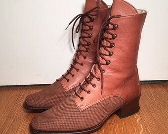 Size 7 Brown Leather Lace-Up Boots Vintage 1990s Small Stacked Heel Midi Booties Lace Up Ankle Boots Women's Midi Laceup Boots