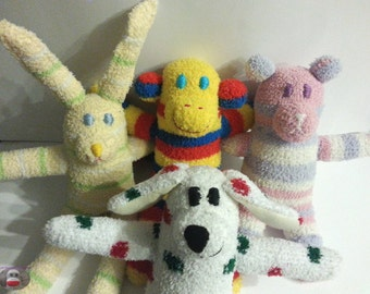 Custom Made Fuzzy Sock Monkey Sock Bear Sock Dog Sock Bunny Soft Plush Doll Toy Handmade