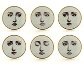 Set of 6 Plates Porcelain Vintage Altered Eye Woman Face White Brown Romantic Whimsical