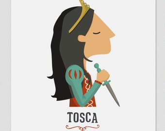 Illustration. Tosca. Print. Wall art. Art decor. Hanging wall. Printed art. Decor home. Gift idea. Sweet home. singer