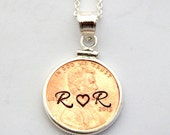 Personalized Penny Necklace - Sterling Silver Penny Initial Necklace Hand Stamped USA Coin Charm Couples Wedding Gift Lucky Penny
