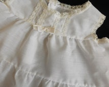 Vintage Baby Slip White Batiste and Ivory Lace size 9 Months Child Infant Doll Dress