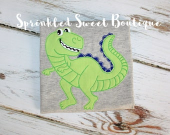 Boys Cool Dinosaur Dino Toy Story Applique Shirt Add Name Monogram Perfect for Birthday Party Dino Rawr