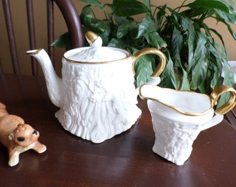 Vintage Royal Stafford England Embossed Old English Oak/Acorns-White & Gold Teapot/Coffee Pot/Lid/Creamer Pitcher-Fall/Thanksgiving Serving