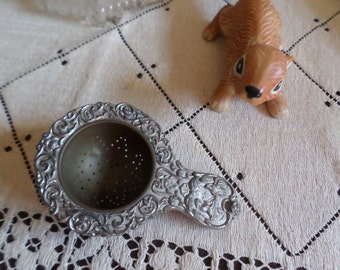 Lovely Ornate Silverplate Embossed Tea Strainer Stamped Germany