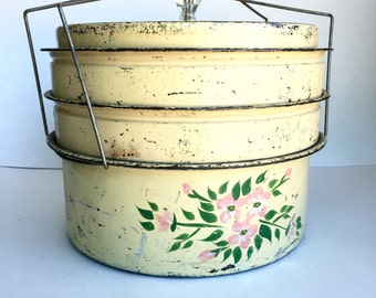 Vintage Stacking Cake Carrier • Three Compartments • Pie