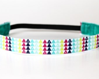 """Triangle Print No Slip Headband 1"""", Gift for Runners, Running Headband, Stocking Stuffer, Gift for Her, Fitness Apparel, Workout Accessory"""