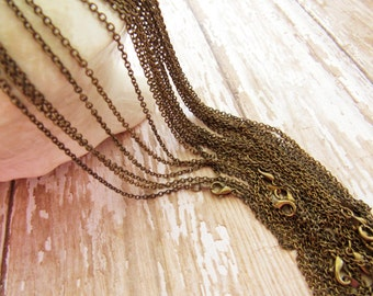 Finished 18 Inch Antiqued Brass Patina Fine Cable Chain Necklace with Lobster Clasp - 2
