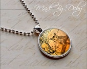 Owl Tree Moon Round Pendant Necklace Silver Chain Choice of Design