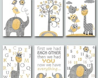 Baby Boy Nursery Quotes Alphabet Numbers Baby Nursery Decor Nursery Art Kids Room Decor Nursery Wall Art Kids Wall Art Kid Art set of 6