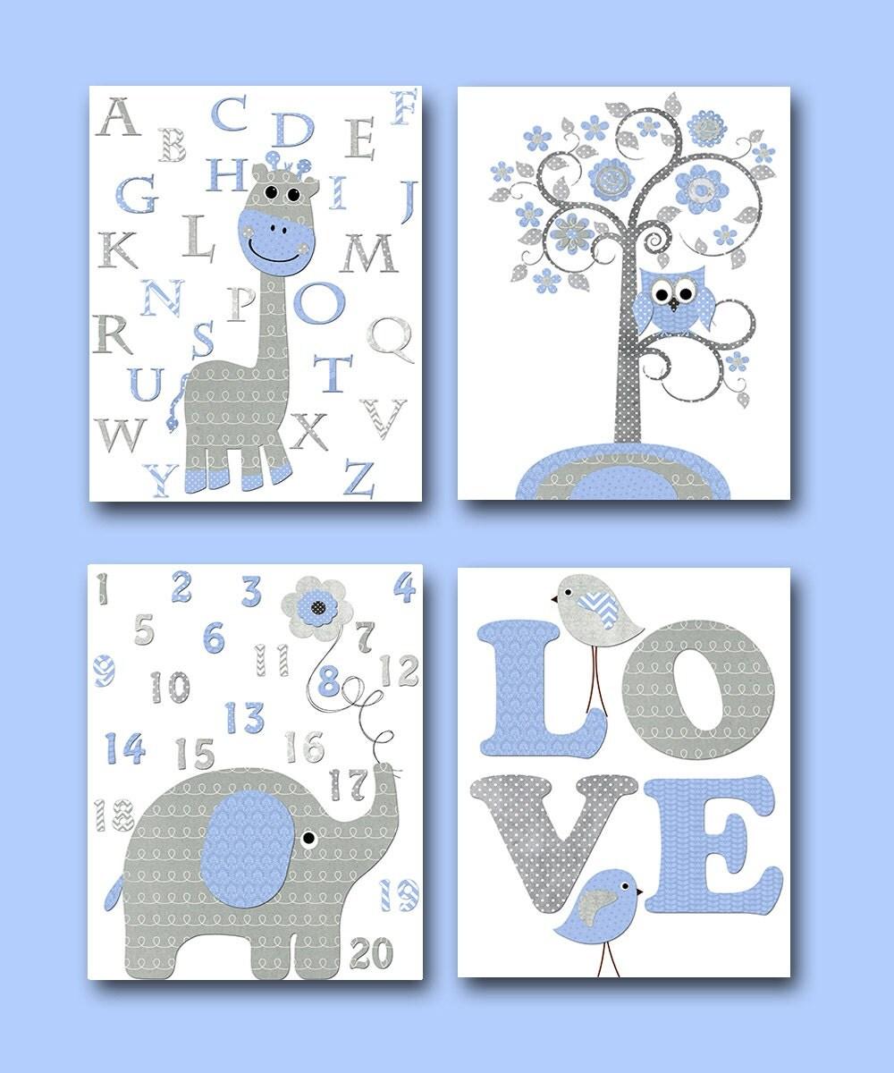 Blue Grey Giraffe Decor Elephant Decor For Nursery Canvas