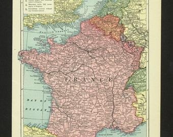 Vintage Map France Original 1923 with WWI changes