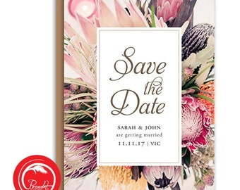 Native Australian Floral Save the Date Card