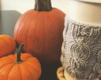 Coffee Sleeve, Coffee Cup Sleeve, Coffee Cup Cozy, Coffee Cozy, Cable Knit Coffee Cozy, Cable Knit Coffee Sleeve, Gray, Pumpkin, Koozy