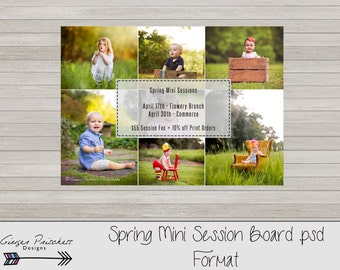 Spring Mini Session Template, Mini Session Flyer, Photography Marketing Board - Instant Download