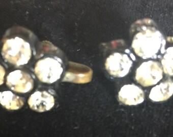 Vintage Screwback Black with Rhinestones Earings