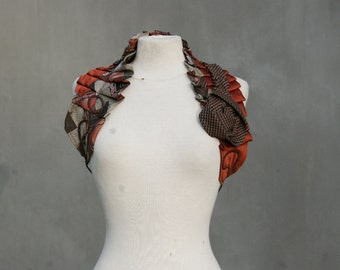Necktie shoulder wrap, Victorian inspired, Earth Brown, upcycled, eco friendly