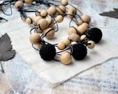 Nursing necklace Black Wood beads Rustic Simple Elegant Ecofriendly  Mothers day Multi strand Boho Breastfeeding necklace Earth earthy