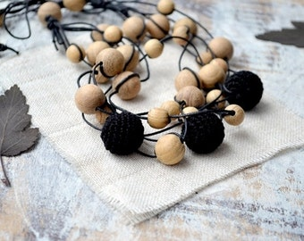 Black  Nursing necklace Wood beads Rustic Simple Elegant Ecofriendly  Mothers day Multi strand Boho Breastfeeding necklace Earth earthy