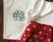 Monogrammed Christmas Pajama Set (Pants and Shirt) Adult Sizes (Exclusive Snowflake Pattern for 2016)
